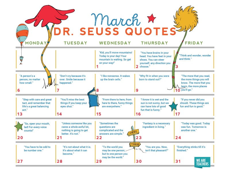 photograph regarding Dr.seuss Quotes Printable called Our Free of charge Dr. Seuss Calendar Functions a Favored Quotation for