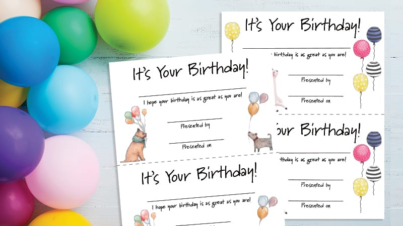 photograph about Printable Birthday Certificates identified as Birthday Certificates - Totally free Printable for Instructors
