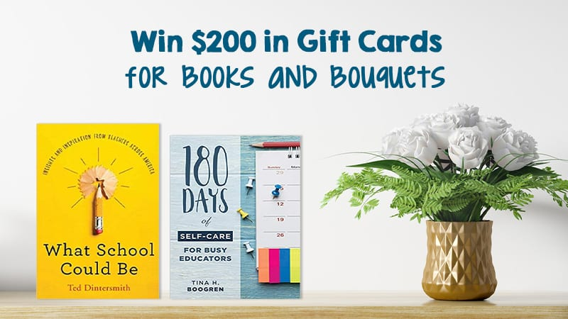 Two teacher books and a bouquet on a shelf for giveaway