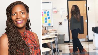Headshot and photo in classroom of LaQueshia Jeffries