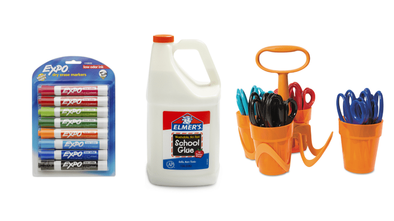 Bulk orders of expo markers, glue, and scissors. width=