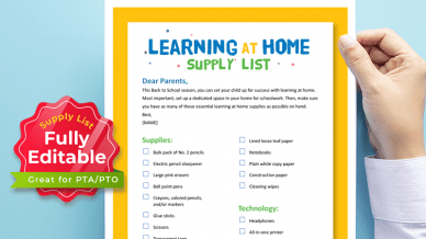 Walmart Printable Learning at Home Supply List.
