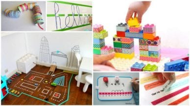 Six images of Washi tape ideas for legos and school activities.
