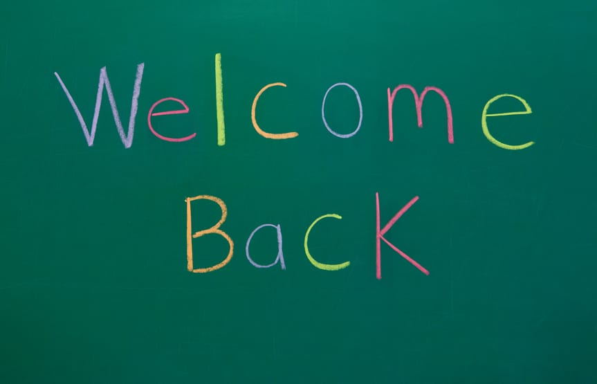 Welcome Back on Chalkboard