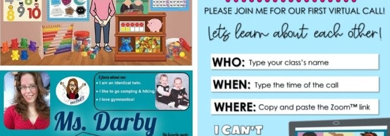 Three separate images of a teacher bitmoji, and two welcome back posters.