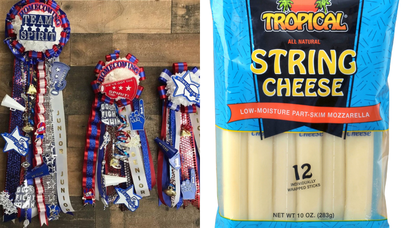 Collage showing Texas homecoming mums and string cheese