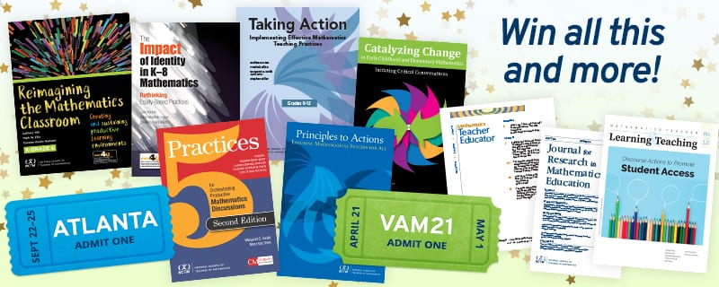 Professional development books and virtual event tickets teachers can win from NCTM