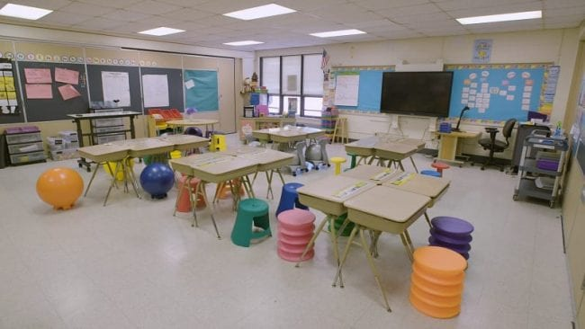 Flexible classroom seating winter classroom