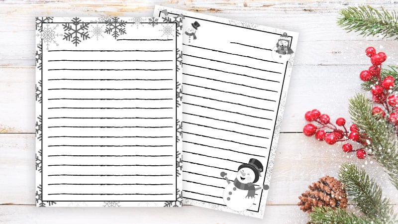 our free printable winter writing paper this adorable set includes snowflakes snowmen icicles and the cutest winter birds you ever did see