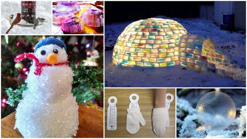 Winter science experiments of a colorful lit-up igloo, a snowman, icicle balls and DIY mittens.