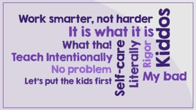 A purple word cloud of all the words or phrases that teachers dislike.