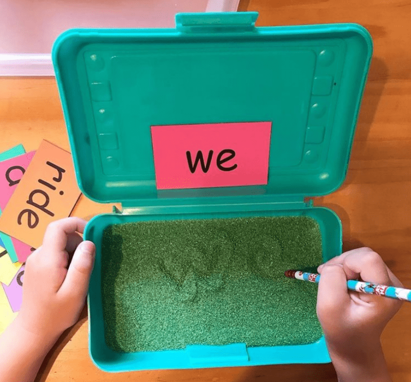 Write words in individual sandboxes