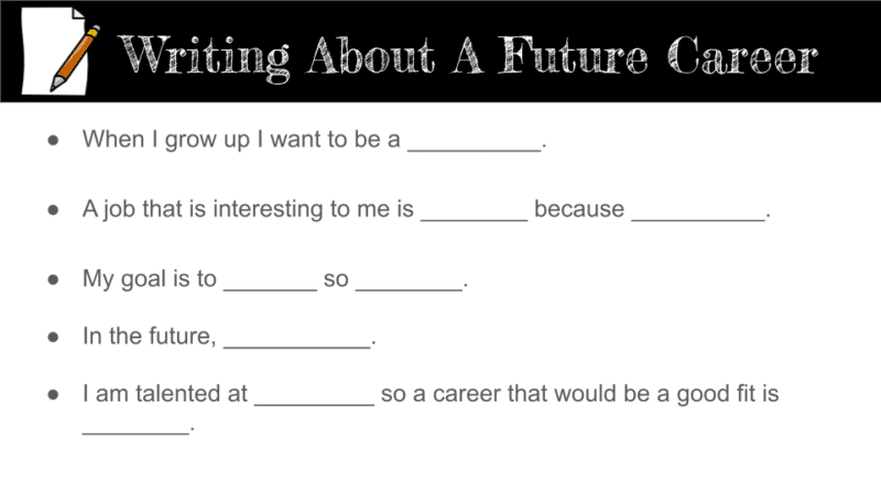 Sentence prompts for writing about a career.