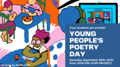 Brightly colored cartoon of children preparing for Young People's Poetry Day with information about the event.