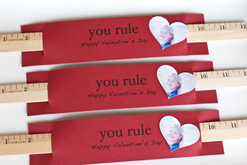 """Red valentines with a wooden ruler and heart shaped photo of child and card that say, """"You Rule Valentine!"""""""
