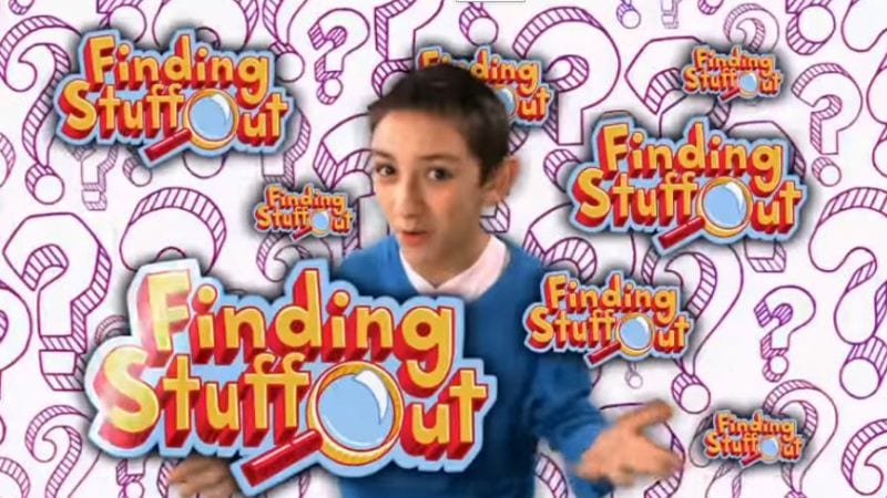 """A question mark background with a young boy with his arm out with the words, """"Finding Stuff Out."""""""