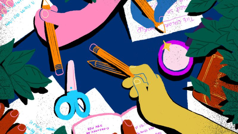 Brightly colored illustration of student hands creating poetry