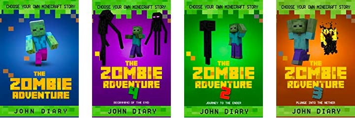 4 Zombie Adventure book covers by John Diary