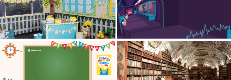 Four separate images of teacher backgrounds including a library, classroom, and lemonade stand.