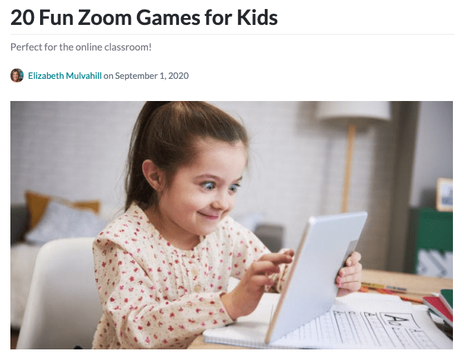 Zoom games for kids header -- top 2020 stories
