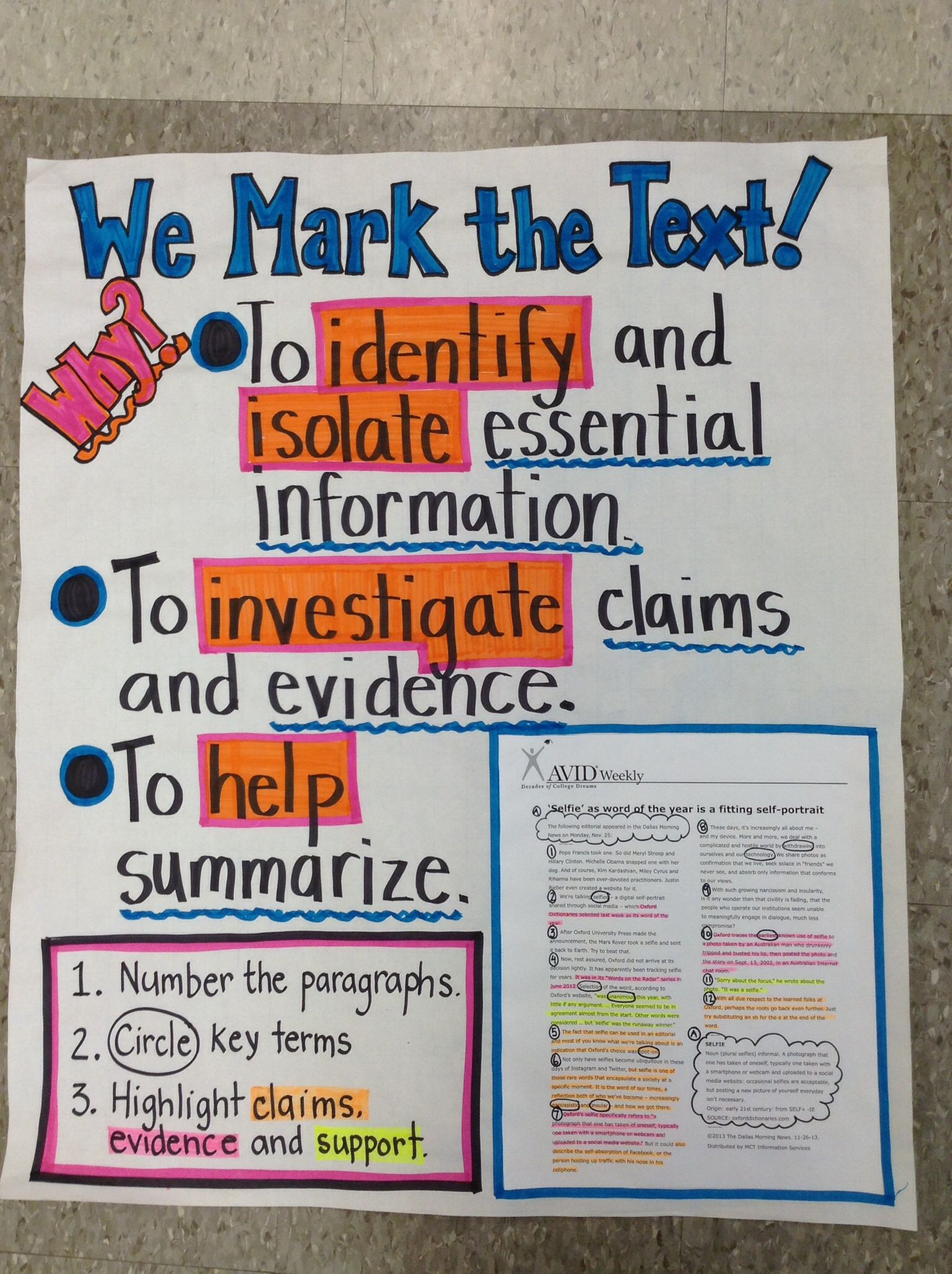 We Mark the Text anchor chart (Anchor Charts for Reading)
