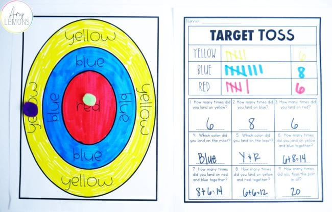 Red yellow and blue target with Target Toss worksheet (Active Math Games)