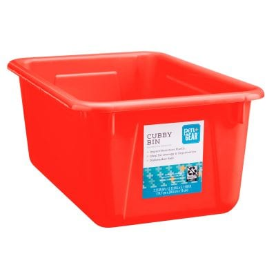 Red cubby bin -- inexpensive walmart classroom buys