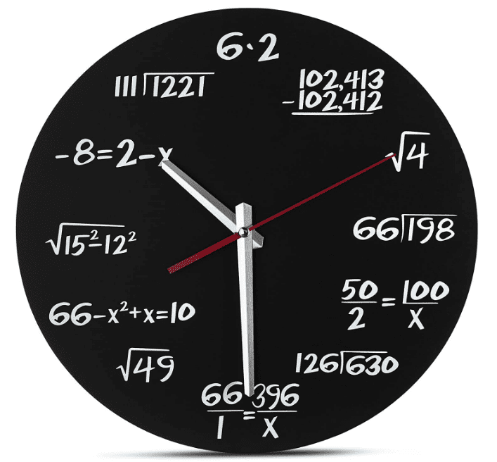 Black clock where each of the 12 hours is represented by a math problem [such as the square root of four (2) and -8=2-x (10)].