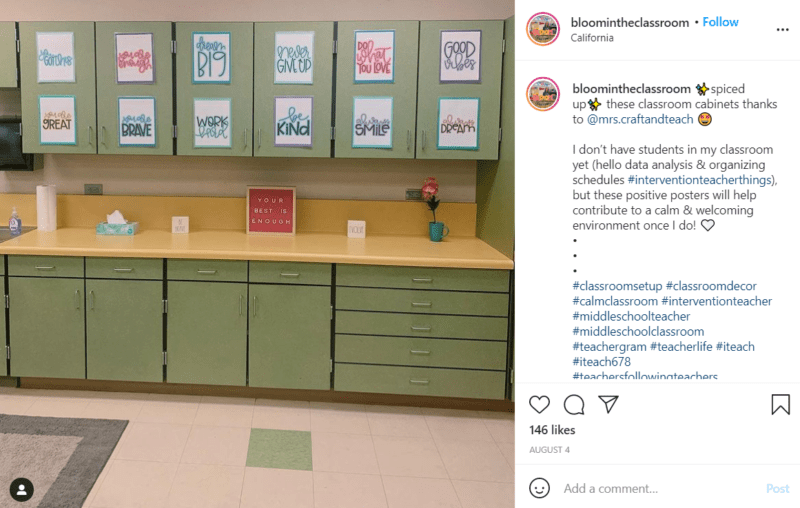 Green cabinets in middle school classroom décor with motivational and inspiring sayings on the cabinet doors.