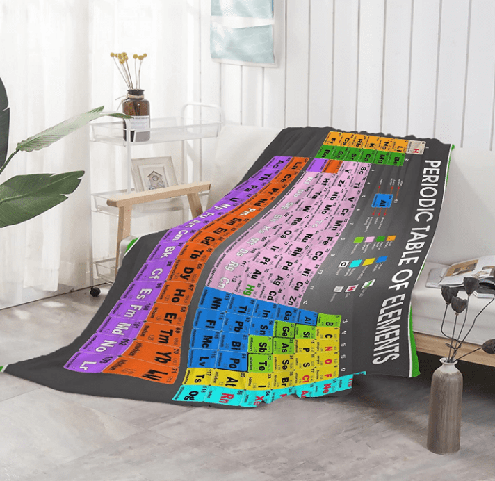 Graphic of a periodic table of the elements blanket.