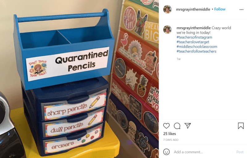 """A blue toolbox with a label that says """"Quarantined Pencils"""" sits on top of a small, three drawer organizer container. The labels on the drawers are: sharp pencils, dull pencils, erasers."""
