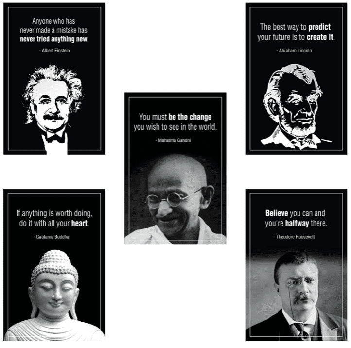 Five black and white posters with historical leaders (Einstein, Gandhi, Buddha, Lincoln, and Teddy Roosevelt) featuring inspiring quotes as middle school classroom décor