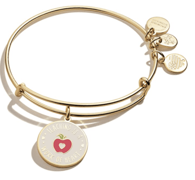 Alex and Ani teacher appreication bangle bracelet in gold with apple