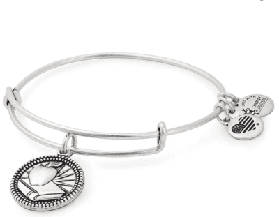 Alex and Ani teacher bangle bracelet with book and apple charm