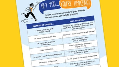 A close-up of the Allstate positive self talk for teens poster to hang in your classroom.