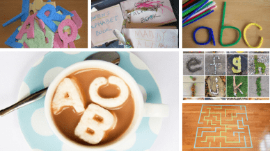 Collage of alphabet activities for the classroom