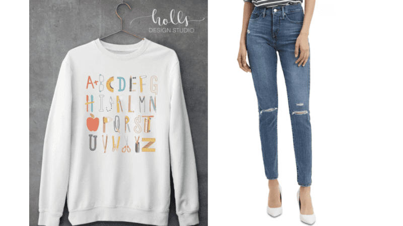 Alphabet crew neck with jeans teacher outfit