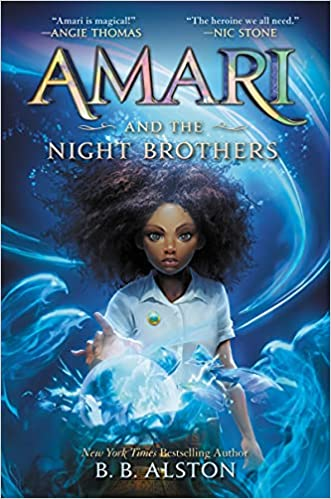 Book cover for Amari and the Night Brothers as an example of fantasy books for kids