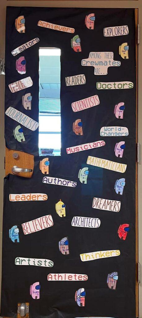 Among Us decor for back to school door