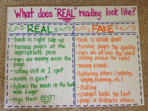 What does real reading look like? anchor chart