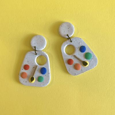 Art palette earrings made of clay