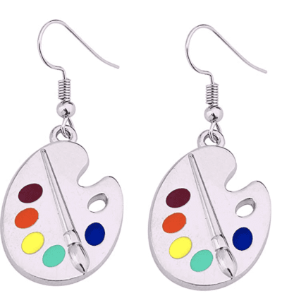 Silver art palette and paint brush earrings