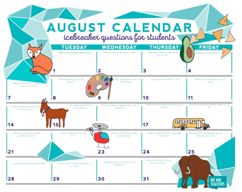 A Month of Icebreaker Questions for Kids