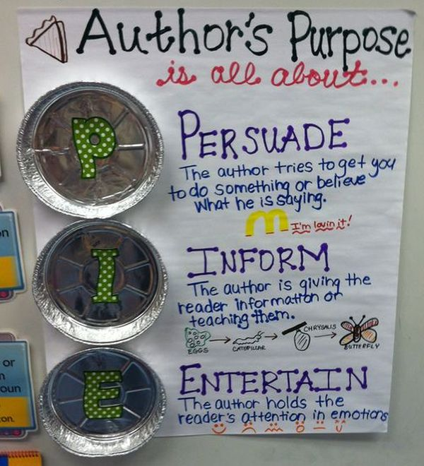 Author's purpose anchor chart with pin tins attached