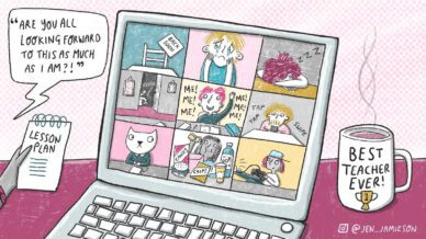 """Color illustration of students on Zoom on a laptop with speech bubble """"Are you all looking forward to this as much as I am?!"""""""
