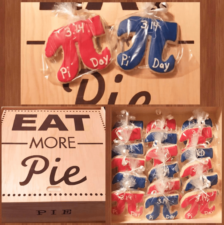 Collage of images of red and blue cookies shaped like the pi symbol