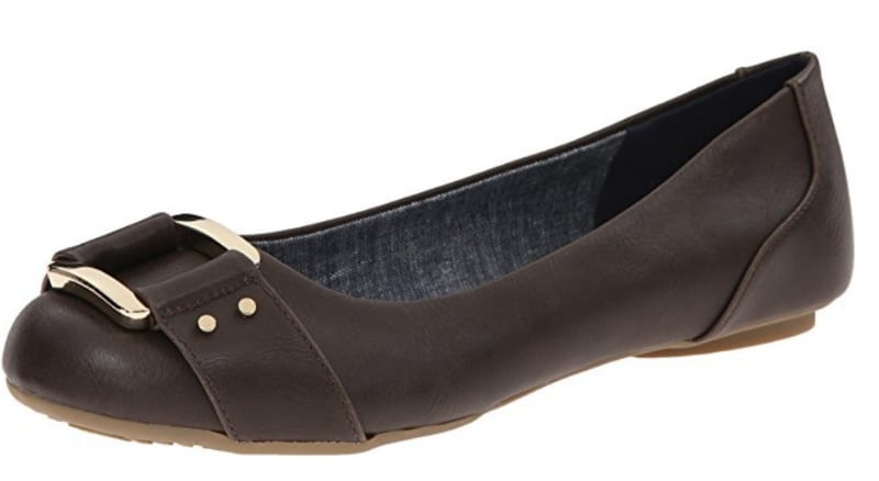 Dr. Scholls Frankie Flats in brown with a buckle