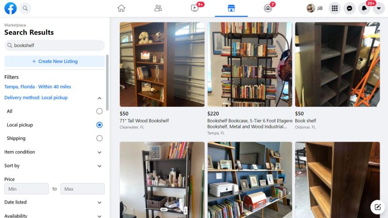 "Facebook Marketplace listings for ""bookshelf"" in Tampa Florida"