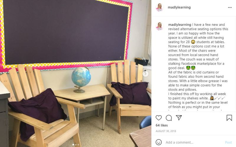 Instagram post of adirondack chairs in a classroom with bulletin board, side table, and globe