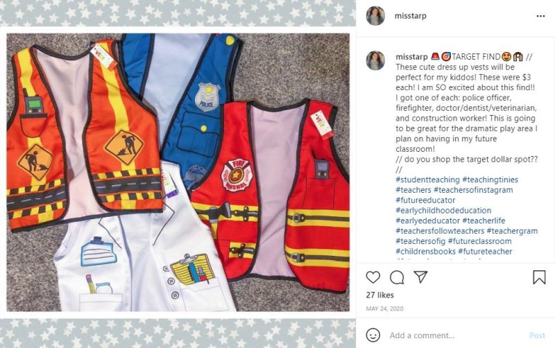 Instagram post featuring three child-sized safety vests